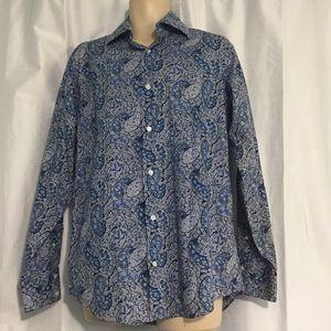 Paisley Blue Men's Dress Shirt Medium